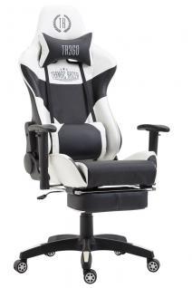 Bürostuhl weiß schwarz Kunstleder Fußablage Chefsessel Zocker Gaming belastbar