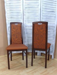 2er Set Stühle massivholz nußbaum terracotta Esszimmer Küche modern design Stuhl