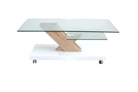 Couchtisch weiß Hochglanz Glastisch mit Säule Wohnzimmertisch Rollen Stubentisch