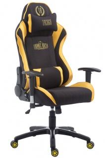 Chefsessel bis 150kg belastbar Stoff schwarz gelb Bürostuhl Gaming Zockersessel