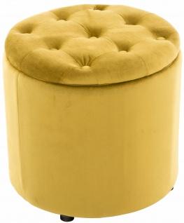 Sitzhocker Samt gelb Polsterhocker mit Stauraum Fußhocker rund modern design