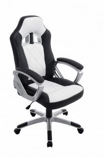 XL Bürostuhl 180kg belastbar schwarz weiß Kunstleder Chefsessel schwere Personen