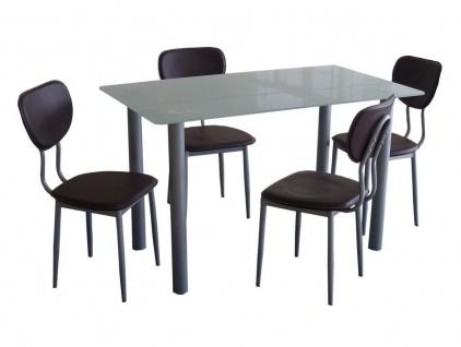 design Essgruppe 5-tlg grau schwarz Glastisch Stühle Esstisch Tischgruppe modern