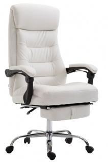 XL Chefsessel belastbar 136kg Kunstleder weiß Bürostuhl Fußablage modern design