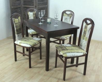 moderne Tischgruppe massiv nußbaum creme olive Tisch Stühle günstig preiswert