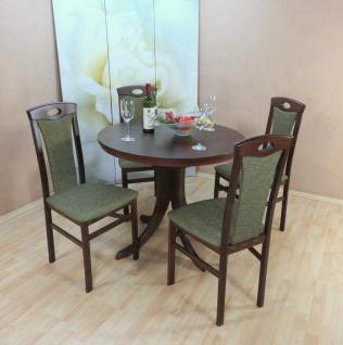 Tischgruppe 5 teilig Buche massivholz nuss dunkel olive Tisch rund hochwertig