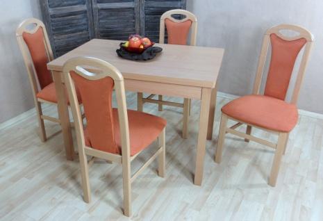 moderne Tischgruppe Buche massiv natur terracotta Stuhlset Tisch Stühle design
