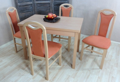 moderne Tischgruppe Buche massiv natur terracotta Tisch Stühle günstig preiswert