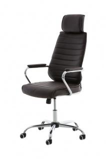 Bürostuhl braun Kopfstütze Metallgestell hochwertig Chefsessel design modern