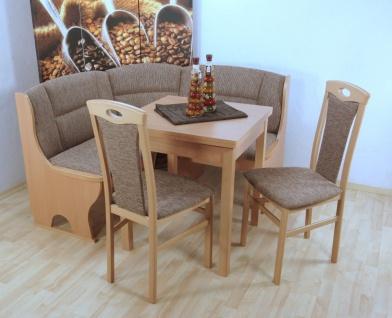 Truheneckbankgruppe teilmassiv Buche natur beige Eckbank mit Truhe Stühle Tisch