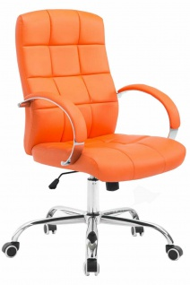 Bürostuhl bis 120 kg belastbar Kunstleder orange Chefsessel hochwertig klassisch