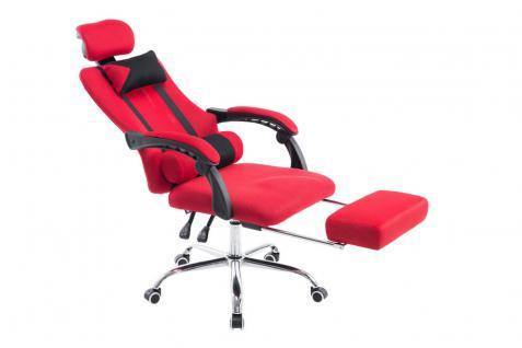 Chefsessel rot Kopfstütze Fußablage design günstig Bürostuhl Zockersessel neu