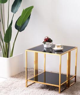 Beistelltisch goldfarben schwarze Glasplatten Couchtisch Glastisch modern design