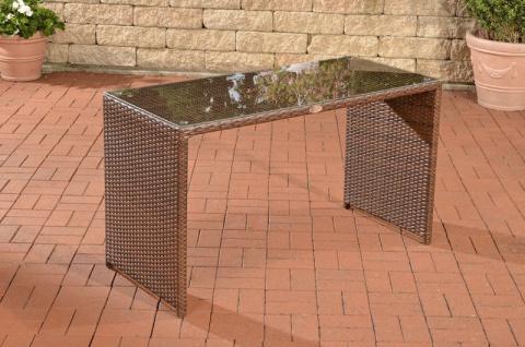 Gartentisch Polyrattan braun Terrassentisch Rattantisch Glastisch Garten Balkon