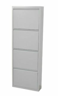 Metall-Schuhschrank grau 4 Klappen Schuhkipper Schuhregal modern design NEU