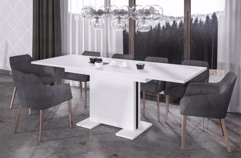 design Säulentisch Hochglanz weiß ausziehbar Esstisch modern günstig hochwerig