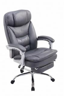 Bürostuhl Kunstleder grau Fußablage Chefsessel 160kg belastbar Drehstuhl stabil