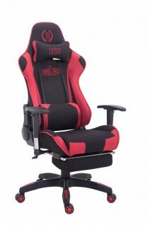 Chefsessel schwarz rot Stoffbezug Bürostuhl Kopfstütze Fußstütze Zocker Gamer