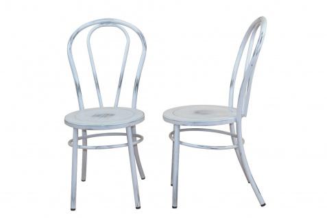 2 x Stühle antik weiß Metallstuhl used look Küche Esszimmer Wohnzimmer Stuhlset