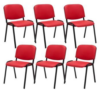6 x Besucherstuhl rot Stuhlset Wartezimmer Messe stapelbar günstig preiswert