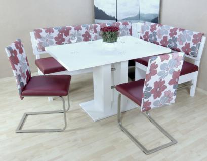 Eckbankgruppe 4-tlg. Essgruppe Eckbank Esstisch Stühle Farbe: Weiß/Bordeauxrot