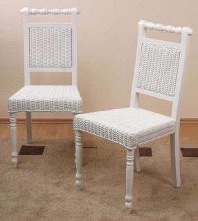 2 x Rattanstühle weiß massivholz inkl. Kissen Esszimmerstühle Rattan modern neu