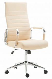 Bürostuhl 136 kg belastbar creme Kunstleder Chefsessel modern design stabil