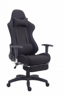 Bürostuhl schwarz Stoffbezug Chefsessel Fußstütze Fußstütze belastbar stabil