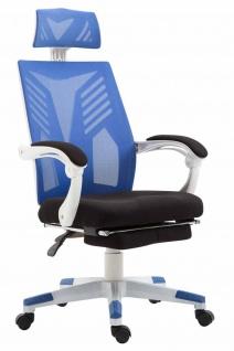 Bürostuhl bis 120kg belastbar weiß blau Chefsessel Netzbezug modern design
