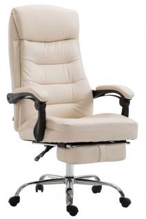 XL Chefsessel belastbar 136kg Kunstleder creme Bürostuhl Fußablage modern design