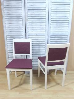 2 x Stühle massivholz weiß violett Esszimmerstühle Küchenstühle modern design