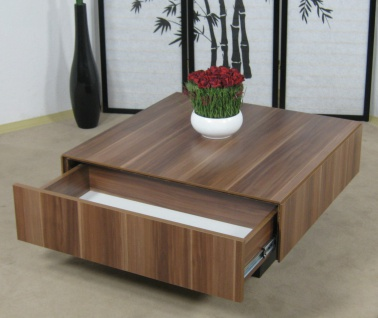 Couchtisch kernnuss Tisch Wohnzimmertisch Sofatisch Schubkasten design modern
