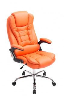 XL Chefsessel bis 150 kg belastbar orange Bürostuhl Kunstleder hochwertig stabil