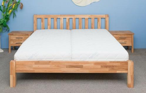 Komfortbett in Überlange 200x220 cm Eiche massiv geölt Einzelbett Seniorenbett