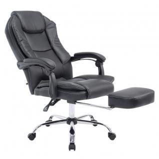 Bürostuhl schwarz Kunstleder Chefsessel klassisch Fußablage hochwertig modern