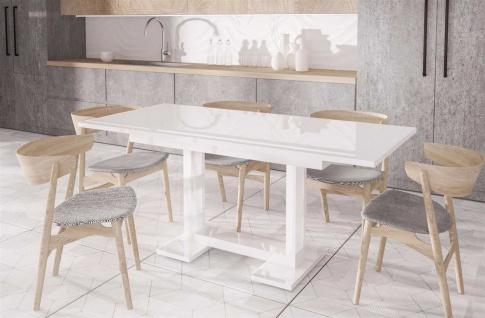 design Esstisch Hochglanz weiß 130-210 cm ausziehbar Auszugtisch günstig modern