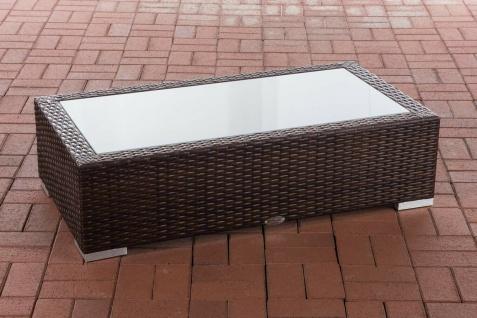 Tisch braun 110x60cm Gartentisch Loungetisch Rattantisch Glastisch flach Outdoor