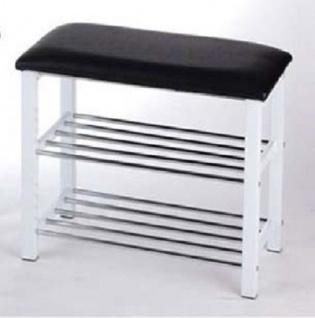 Sitzbank mit Sitzpolster schwarz weiß Schuhablage Garderobenbank Schuhschrank