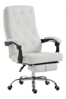 Chefsessel 136 kg belastbar weiß Kunstleder Bürostuhl Fußablage modern design