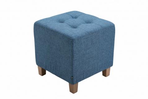 Sitzhocker Stoffbezug blau Sitzwürfel Sitzbank Hockerbank antik Vintage Ottomane