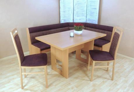 Truheneckbankgruppe Buche natur rot Eckbankgruppe Truheneckbank Stühle Tisch