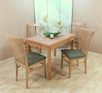 Tischgruppe Buche massiv natur olive Essgruppe 4 x Stühle Esstisch Holz Stuhlset