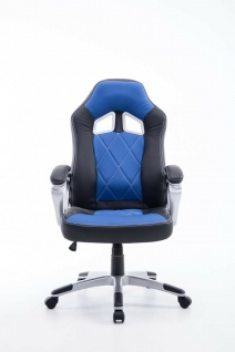 XL Bürostuhl 180kg belastbar schwarz blau Kunstleder Chefsessel schwere Personen - Vorschau 2
