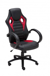 Bürostuhl 120 kg belastbar schwarz rot Kunstleder Chefsessel sportliches design