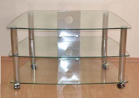 moderner Phonotisch Chromfarben Glas design Phonowagen rollbar TV Tisch Rack