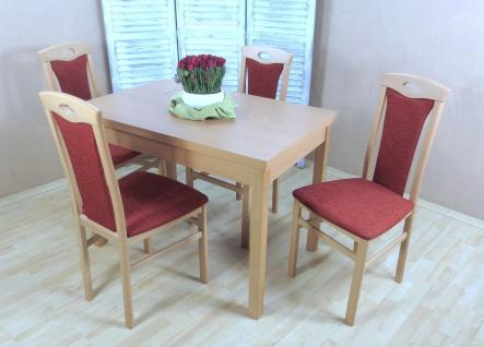 Tischgruppe massivholz Buche natur terracotta Auszugtisch Stuhlset Stühle Tisch