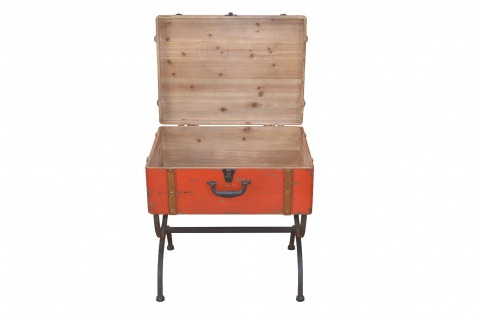 Beistelltisch Koffer Vintage massivholz Beitisch used look Metall Truhe Tasche - Vorschau 4