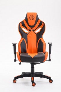 Bürostuhl 150 kg belastbar schwarz orange Kunstleder Chefsessel Zocker Gaming - Vorschau 2