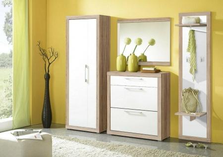 moderne Garderobe 4 teilig Sonoma/weiß Komplett-Set Schrank Spiegel Paneel NEU