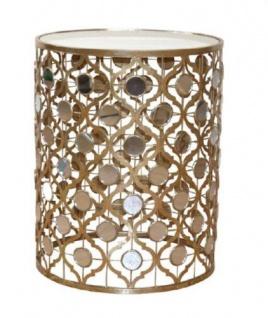 Beistelltisch goldfarben Metalltisch Glastisch Tisch Antik-Stil Couchtisch desig